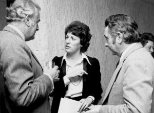 Mr. Whitlam discusses International Women's Year with two members of the National Advisory Committee, Ms. Elizabeth Reid and the Secretary of the Australian Government's Department of the Media, Mr James Oswin (National Library of Australia nla.pic-vn3510683, photo: Malcolm Lindsay)